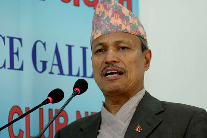 FILE: CPN-UML Vice-Chairman Bhim Rawal speaks with journalists in Kathmandu, on Monday, July 18, 2016. Photo: Reporters' Club Nepal