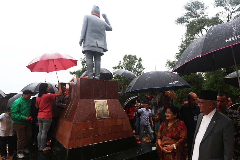 Prime Minister KP Sharma Oli visits the Pushpa Lal Park in Kirtipur to mark the 38th death anniversary of Communist leader Pushpa Lal Shrestha on Friday, July 22, 2016. Photo: RSS