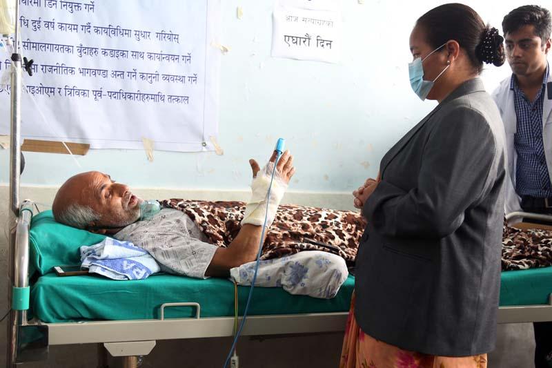 Speaker Onsari Gharti visits Dr Govinda KC at the Tribhuvan University Teaching Hospital on Wednesday, July 20, 2016. Photo: RSS