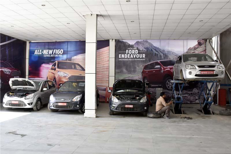 GO Automobiles (Autocare) Pvt. Ltd, authorised distributor of Ford in Kathmandu. Photo: Shirish Amatya/ THT