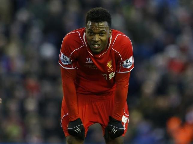 Liverpool's Daniel Sturridge reacts during their English Premier League soccer match against West Ham United at Anfield in Liverpool, northern England January 31, 2015.    REUTERS/Phil Noble