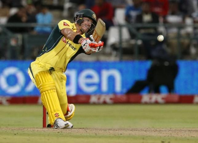 Cricket - Australia v South Africa - T20 International - Newlands Stadium, Cape Town, South Africa - 9/3/2016 Australia's David Warner plays a shot REUTERS/Mike Hutchings/Files
