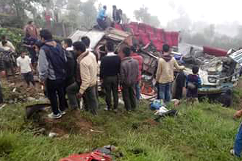Wreckage of a bus that met with an accident at Sidhuwa in Parewadhin VDC-5 of Dhankuta district in eastern Nepal on Thursday, July 28, 2016. Photo: RSS