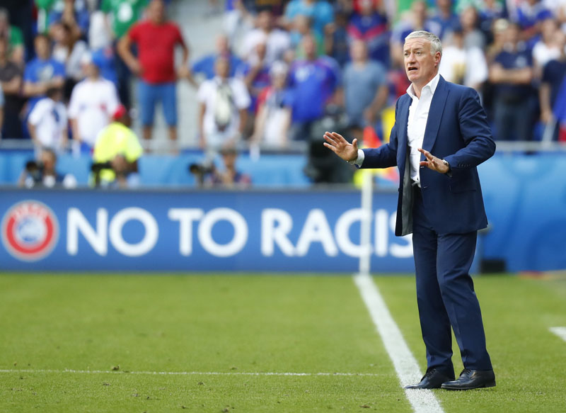 France coach Didier Deschamps on the touchline during the game against Republic of Ireland at Stade de Lyon, on June 26, 2016. Photo: Reuters/File   nn