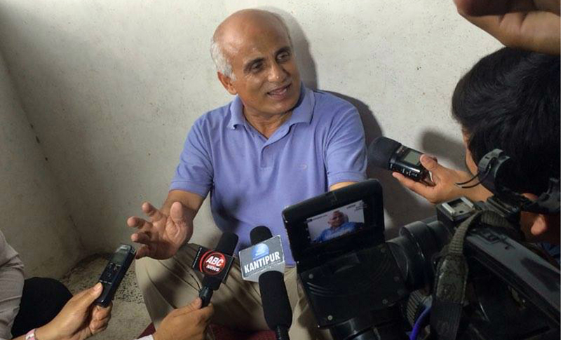 Dr Govinda KC speaks with media before he begins a fast-unto-death demanding various reforms in Nepal medical education sector, in Kathmandu, on Sunday, July 10, 2016. Photo: RSS