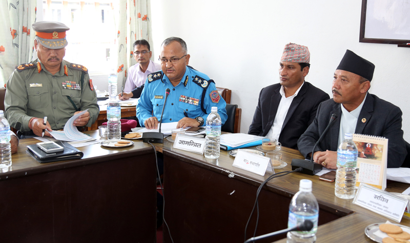 (From left) Armed Police Force Inspector General Durja Kumar Rai, Nepal Police IG Upendra Kant Aryal and Home Minister Shakti Bahadur Basnet attend a meeting of the Social Justice and Human Rights Committee of the Parliament, presided over by lawmaker Sushil Kumar Shrestha (right), on Friday, July 8, 2016. Photo: RSS
