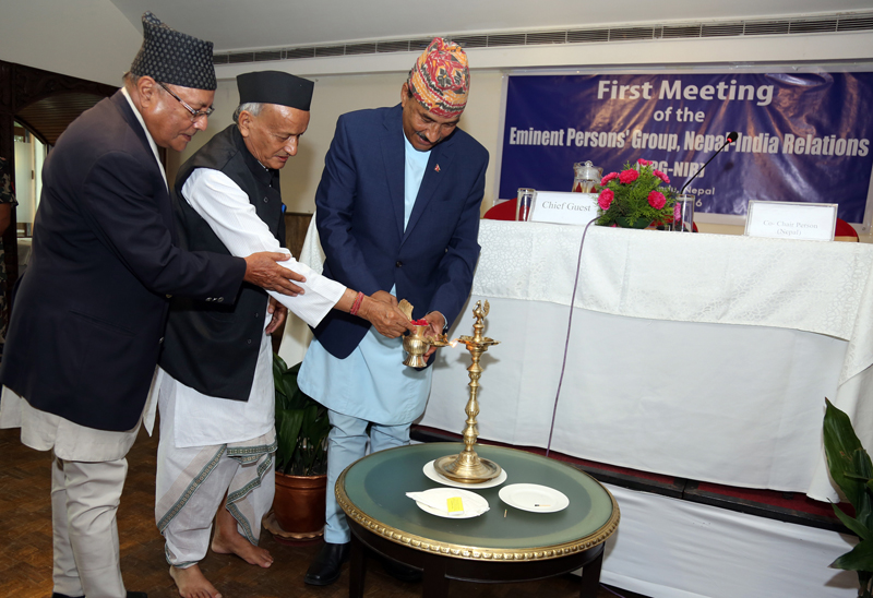 (From right) Deputy Prime Minister and Minister for Foreign Affairs Kamal Thapa, Eminent Persons Group (EPG) Coordinator from India Bhagat Singh Koshyari and EPG Coordinator from Nepal Bhekh Bahadur Thapa inaugurate the first meeting of the Eminent Persons Group on Nepal-India Relations (EPG-NIR), in Kathmandu, on Monday, July 4, 2014. Photo: RSS