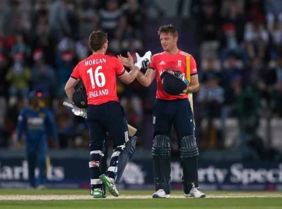 Britain Cricket - England v Sri Lanka - NatWest International T20 - The Ageas Bowl - 5/7/16nEnglandu2019s Eoin Morgan (L) and Jos Buttler celebrate winning the matchnAction Images via Reuters / Matthew ChildsnLivepic