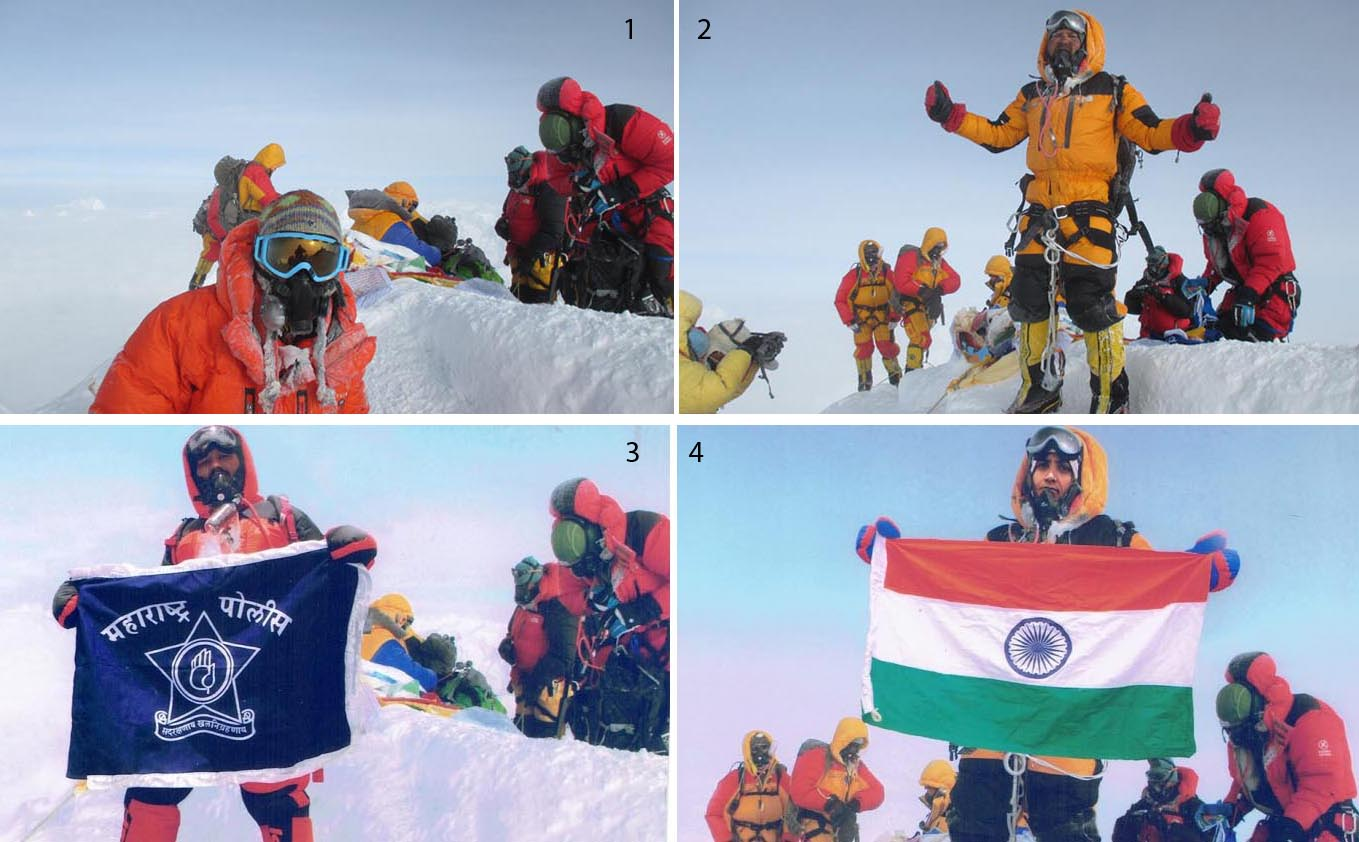 Satyarup Siddhantha (2) has charged that Dinesh Chandrakant Rathod (3) and his wife Tarkeshwari Chandrakant Bhelerao (4) morphed his photographs (1 & 2), taken on the top of Mt Everest, and submitted to Nepalu2019s Department of Tourism to get the Everest summit certificates.