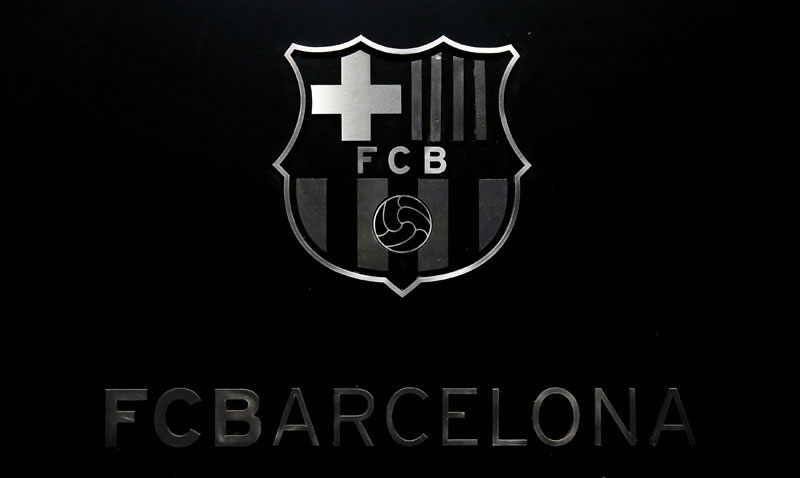 FC Barcelona's logo is seen while President Josep Maria Bartomeu attends a news conference to assess the season 2015/16 in Barcelona, Spain, June 30, 2016.  Photo: Reuters/File