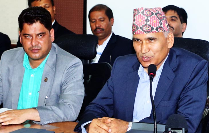 Finance Minister Bishnu Prasad Paudel at a press conference organised by the Finance Ministry on Tuesday, July 19, 2016. Photo: RSS
