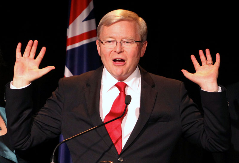 Former Australian Prime Minister and leader of the Labour party leader Kevin Rudd reacts as he speaks at a Labour Party function in Brisbane, Australia, on September 7, 2013. Photo: Reuters
