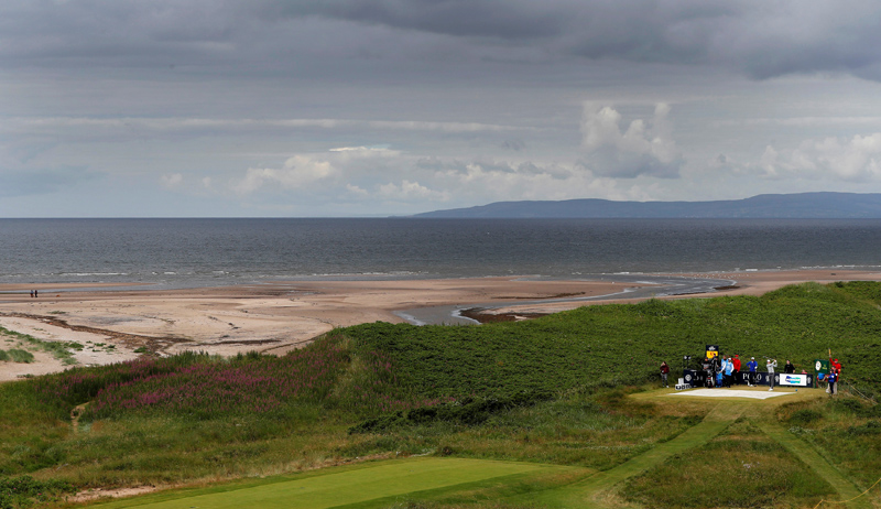 Seung Yul Noh of South Korea hits off the ninth tee during practice round of the British Open Golf Tournament at Royal Troon in Scotland, on July 12 2016.  Photo: REUTERS