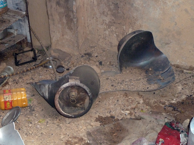 An exploded cooking gas cylinder while installing it with a stove at a house in Kawasoti on Friday, July 29, 2016. Photo: Shreeram Sigdel
