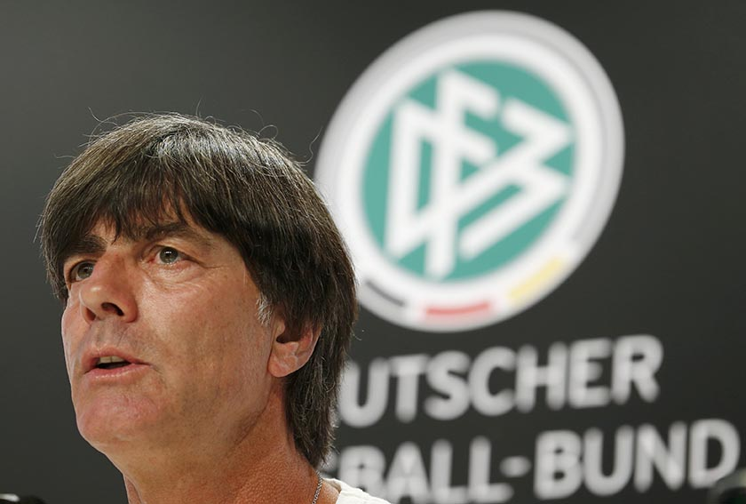 Germany's coach Joachim Loew during news conference at Stade Camille Fournier, Evian-Les-Bains, France , on June 28. Photo: Reuters