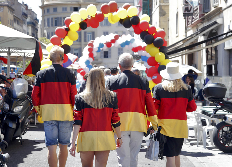 Germany fans gather in Marseille, prior to their team's semi final clash with hosts France at Stade de Marseille, in Marseille, on Thursday, July 7, 2016. Photo: Reuters