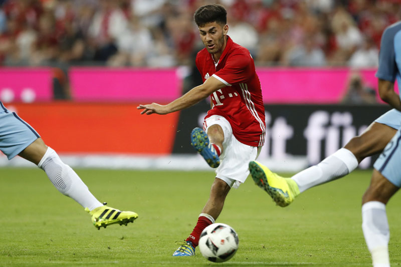 Bayern's Erdal Oztuerk scores his sides opening goal during a friendly soccer match between FC Bayern Munich and Manchester City at the Allianz Arena stadium in Munich, Germany, on Wednesday, July 20, 2016. Photo: AP