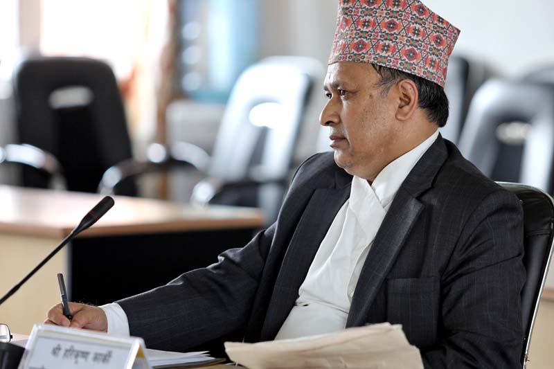 One of the nominees for the Supreme Court justices, Hari Krishna Karki, faces the Parliamentary Hearing Special Committee (PHSC), in Kathmandu, on Wednesday, July 27, 2016. Photo: RSS