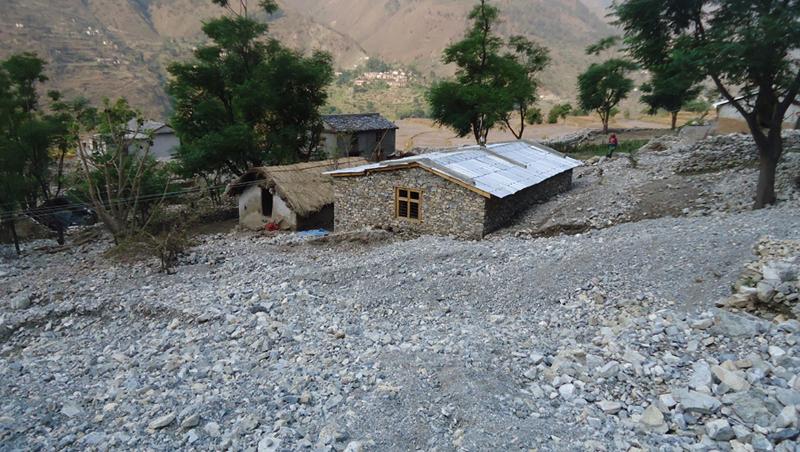 A house in Kolti village of Bajura district, which lies at a high risk of landslides. Photo: Prakash Singh