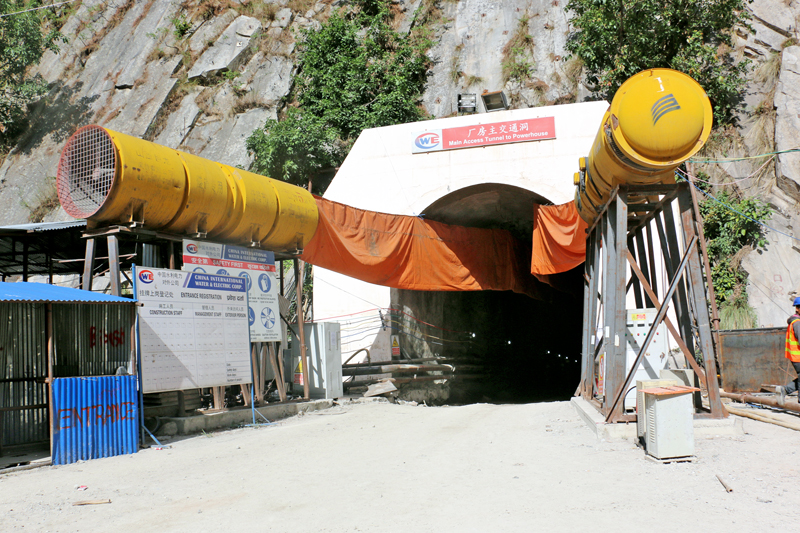 The entrace of Rasuwagadi Hydro Electricity Project's tunnel in Rasuwa district as captured on Friday, July 29, 2016. The project is under-consruction. Photo: RSS