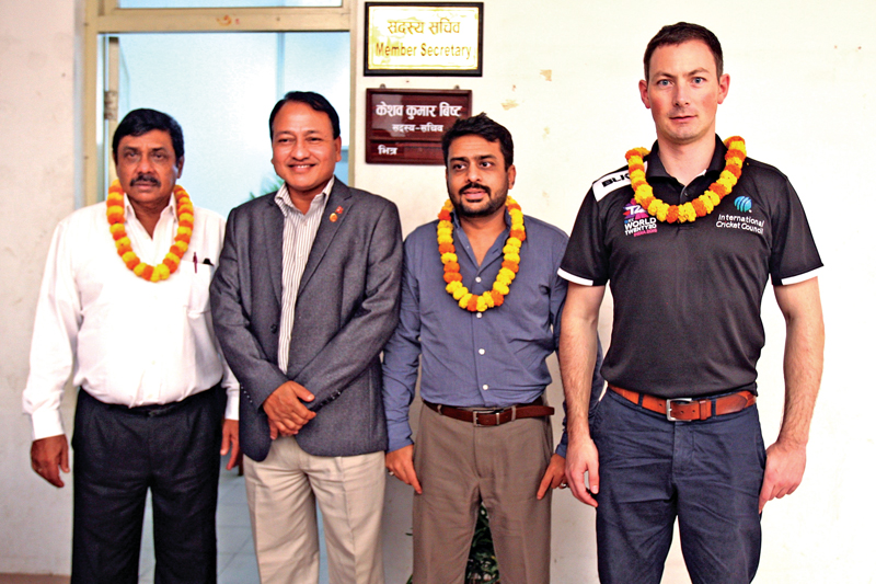 National Sports Council Member Secretary Keshab Kumar Bista (second from left) with the International Ccricket Council delegates before a meeting at the International Sports Complex in Lalitpur on Wednesday.