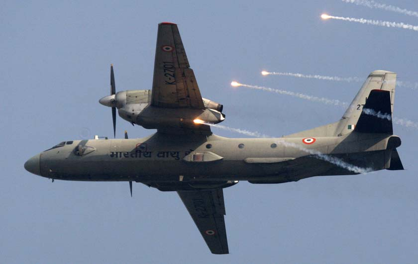 File- An Indian Air Force's (IAF) AN-32 transport aircraft releases chaff as it flies past the IAF Day Parade in New Delhi, India on 8th October, 2009. Photo: AP