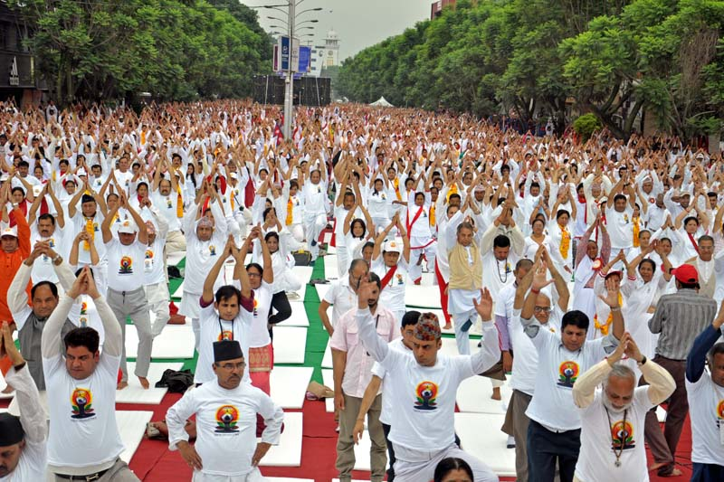 People participating in the International Yoga Day at Durbar Marg on June 21. Photo: THT/ File