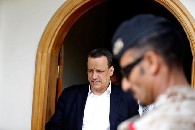 U.N. special envoy for Yemen Ismail Ould Cheikh Ahmed leaves after a meeting with Houthi movement officials in Sanaa, Yemen July 14, 2016. REUTERS/Khaled Abdullah