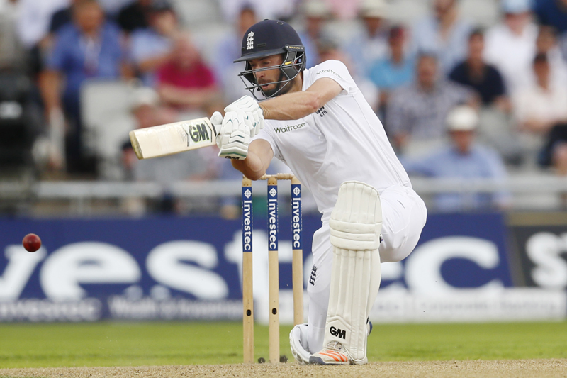England's James Vince plays a shot during Second Test cricket match at Old Trafford in England, on Friday, July 22, 2016. Photo: Reuters