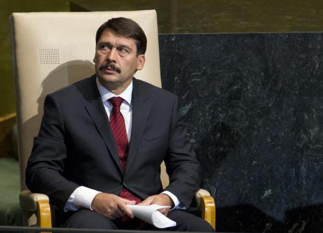 Hungary's President Janos Ader waits to address the 67th session of the United Nations General Assembly at UN headquarters in New York, September 25, 2012. REUTERS/Ray Stubblebine