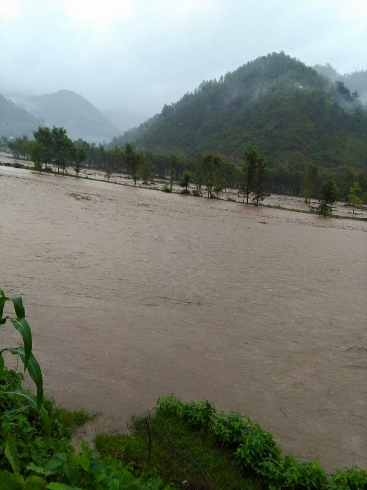 A view of the Jhimruk River in flood in Pyuthan district on Tuesday, July 26, 2016. Photo: Devendra Barma/THT