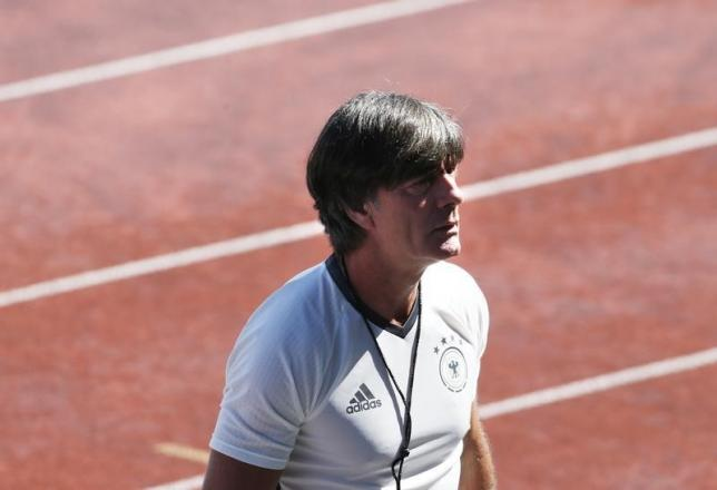 Germany's coach Joachim Loew during training. REUTERS/Denis Balibouse
