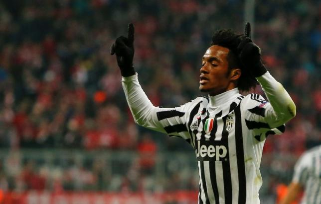 Juventus' Juan Cuadrado celebrates after scoring a goal  against Bayern Munich at the Allianz Arena on March 16, 2016. Photo: Reuters/File