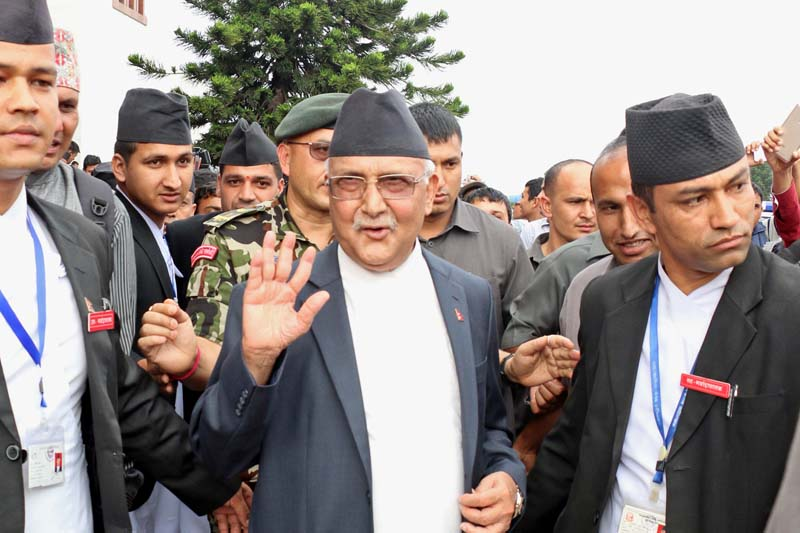 Prime Minister KP Sharma Oli exits the Parliament building after a top leaders' meeting concluded, in Kathmandu, on Thursday, July 21, 2016. Photo: RSS