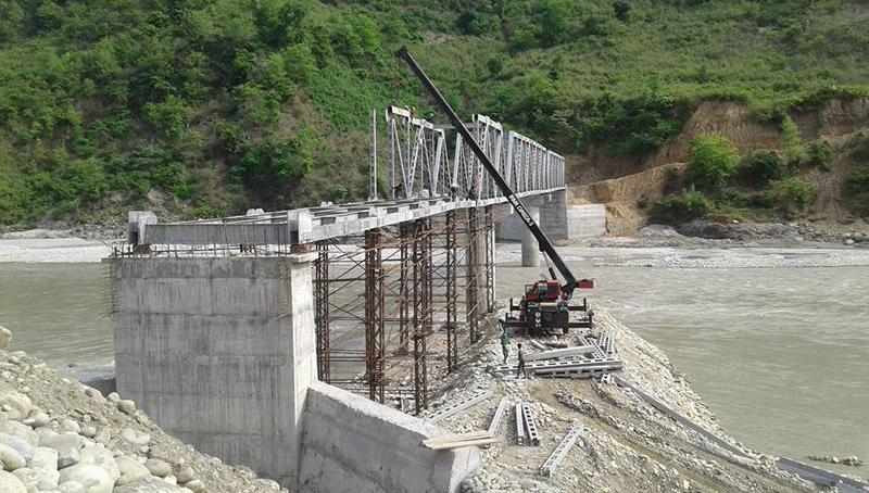 FILE: An under-construction truss bridge over the Kali Gandaki River, bordering Nawalparasi and Tanahun districts, before it was swept away by a flood, on Saturday, July 2, 2016. Photo: Bir Bahadur BK via THT Online