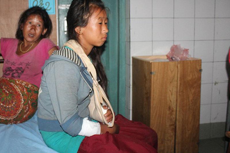 Niruta Ghale of Chiti in Lamjung district undergoes treatment at the Lamjung Community District Hospital, on Friday, July 15, 2016. Photo: Ramji Rana