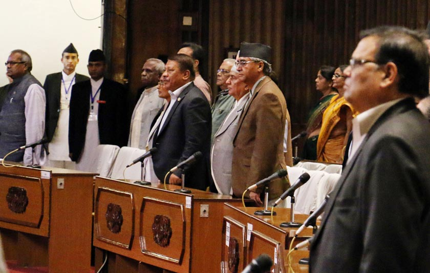Lamakers take part in the discussion on no-confidence motion at the Legislature-Parliament in New Baneshwor on Sunday, July 24, 2016. Photo: RSS