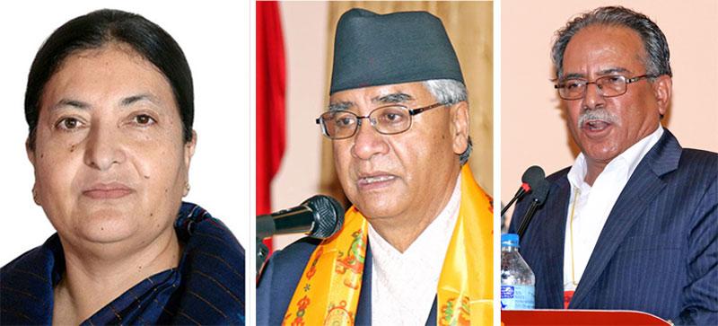 (from left) President Bidya Devi Bhandari, Nepali Congress President Sher Bahadur Deuba and CPN Maoist Centre Chairman Pushpa Kamal Dahal