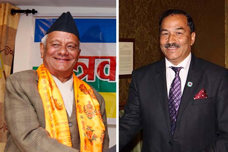 (Left) Rastriya Prajatantra Party (RPP) Chairman Lokendra Bahadur Chand and Rastriya Prajatantra Party-Nepal (RPP-N) Kamal Thapa. Photos: RSS/ PHammondMP via Twitter