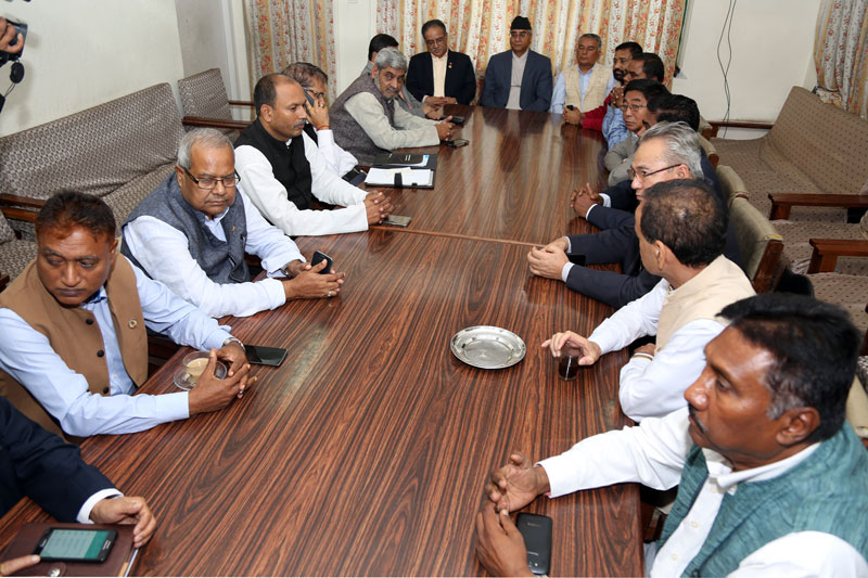 Top leaders of Nepali Congress (NC), CPN Maoist Centre and Madhesi Morcha hold a meeting at the NC's Parliamentary Party Office in Singha Durbar on Friday, July 22, 2016. Photo: RSS