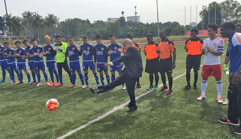 Nepal's Ambassador to Malaysia Niranjan Man Singh Basnyat kicks football while inaugurating three-day football tournament organised by Nepalis in Malaysia at Panasonic Sports Stadium in Shah Alam, Selangor on Wednesday, July 6. Photo: Nepali Embassy in Malaysia