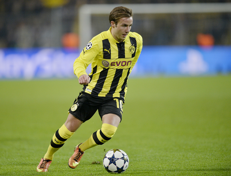 In this March 5, 2013 picture Dortmund's Mario Goetze plays during the Champions League, round of 16, second leg soccer match between Borussia Dortmund and Shakhtar Donetsk in Dortmund, Germany. Photo: AP