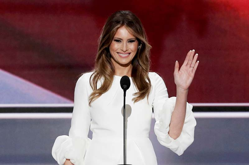 Melania Trump, wife of Republican U.S. presidential candidate Donald Trump, waves as she arrives to speak at the Republican National Convention in Cleveland, Ohio, on Monday, July 18, 2016. Photo: Reuters