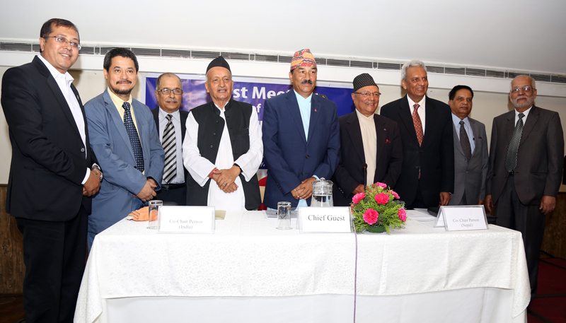 Members of the Eminent Persons Group on Nepal-India Relations pose for a photograph with Nepal's Foreign Minister Kamal Thapa during their first meeting in Kathmandu, on Monday, July 4, 2016. Photo: RSS