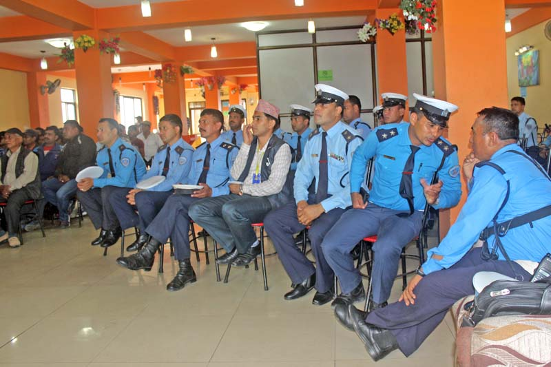 Personnel of the Metropolitan Traffic Police Division participate in the training programme regarding traffic rules, in Kalimati, on Saturday, July 16, 2016. Photo Courtesy:  Metropolitan Traffic Police