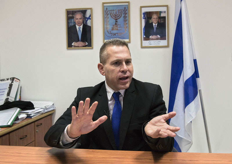 Israeli Public Security Minister Gilad Erdan speaks during an interview with The Associated Press in his office in Tel Aviv, Israel, on Thursday, July 14, 2016. Photo: AP
