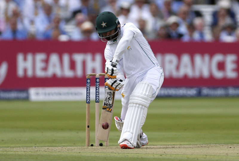 Pakistan's Mohammad Hafeez in actionn during First Test match at Lord's on Thursday, July 14, 2016. Photo: Reuters