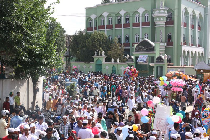 FILE PHOTO: Muslims returning after attending the mornign prayers of Eid al-Fitr, which marks the end of the Muslim fasting month of Ramadan, at Mosque in Ghantaghar, kathmandu on July 7, 2016. Photo: RSS