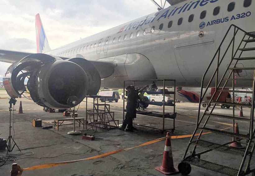 Borescope inspection of Nepal Airlines Corporation's Airbus 320 being carried out at TIA. Photo: AR Pahadi / Facebook