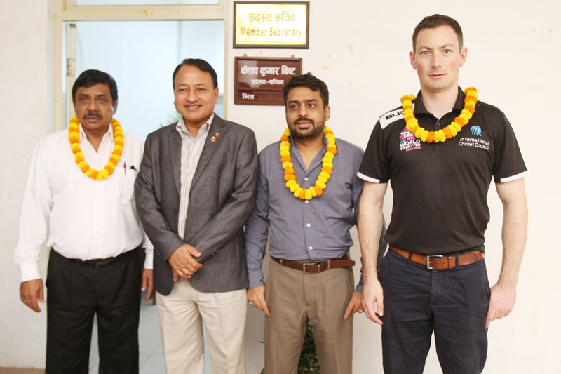 National Sports Council Member Secretary Keshab Kumar Bista (second from left) with the International Cricket Council delegates before a meeting at the International Sports Complex in Lalitpur on Wednesday, July 27, 2016. Photo: Udipt Singh Chhetry/THT